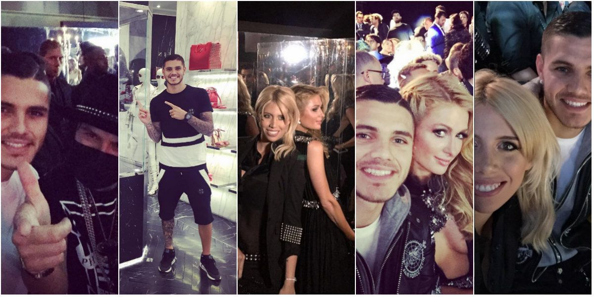 Wanda Nara y Mauro Icardi, de fiesta en Milán: moda, glamour y fotos con Paris Hilton
