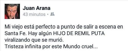 La furia de Hugo Arana por su falsa muerte en Twitter: Hay gente imbécil que quiere hacer daño