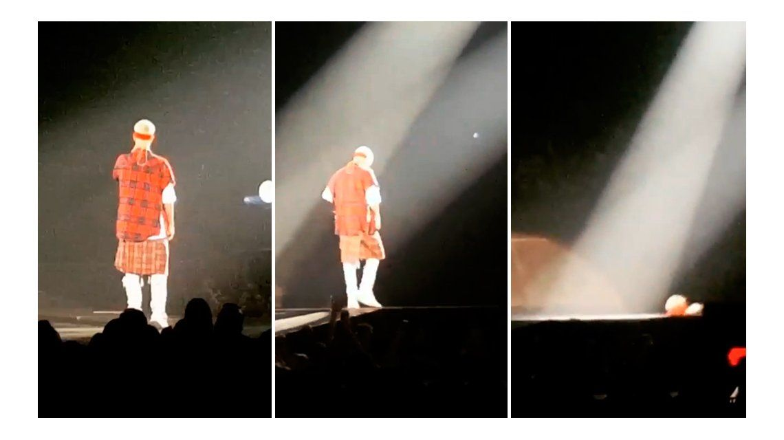 El video del terrible accidente de Justin Bieber durante un show: Soy como un gato, caí de pie