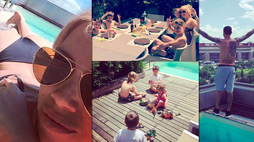 Wanda Nara y Mauro Icardi regresaron con todos sus hijos a Milán: calor europeo, pileta y fotos en bikin
