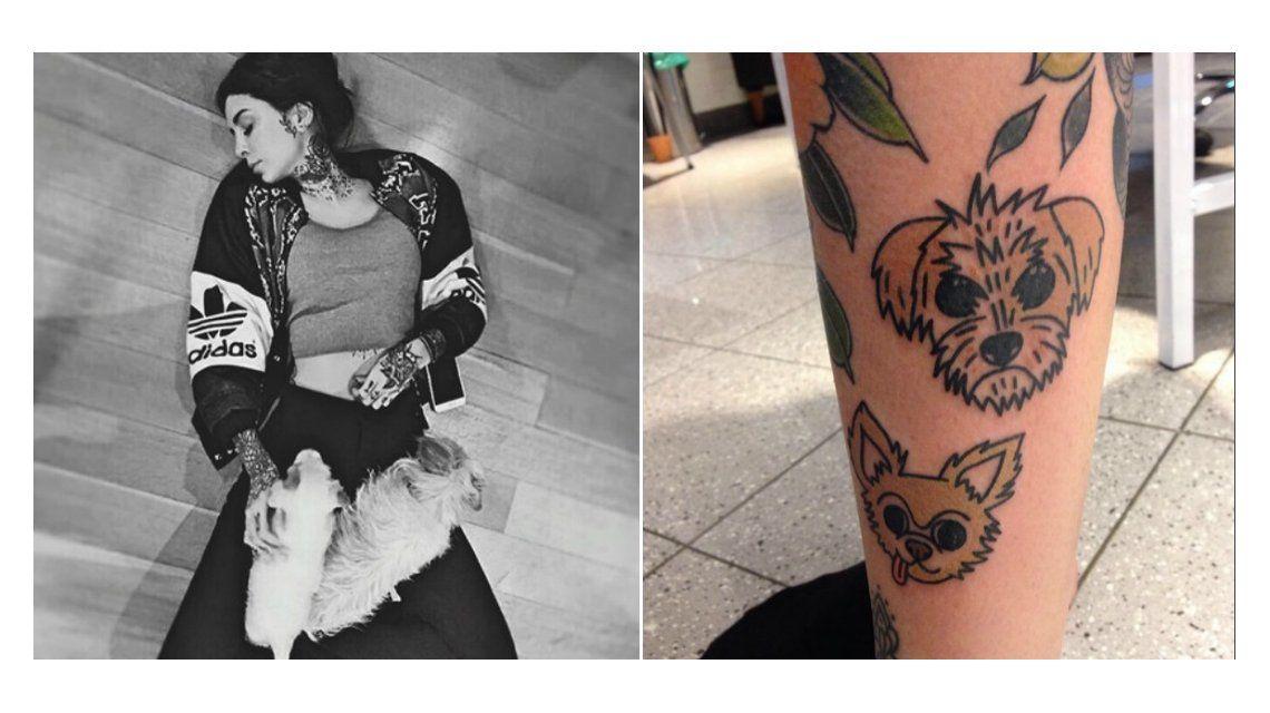 Los lleva hasta en la piel: Cande Tinelli se tatuó a sus perros en la pierna