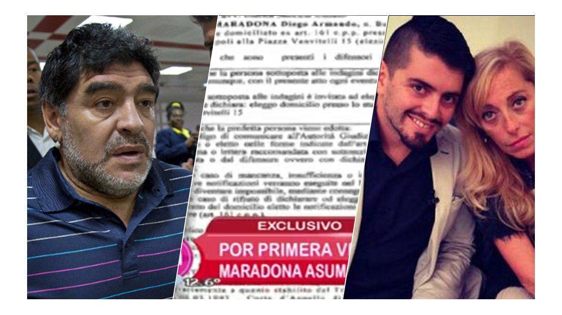 El documento revelador en el que Diego Maradona asume la paternidad de Diego Jr. y su noviazgo con Cristina Sinagra