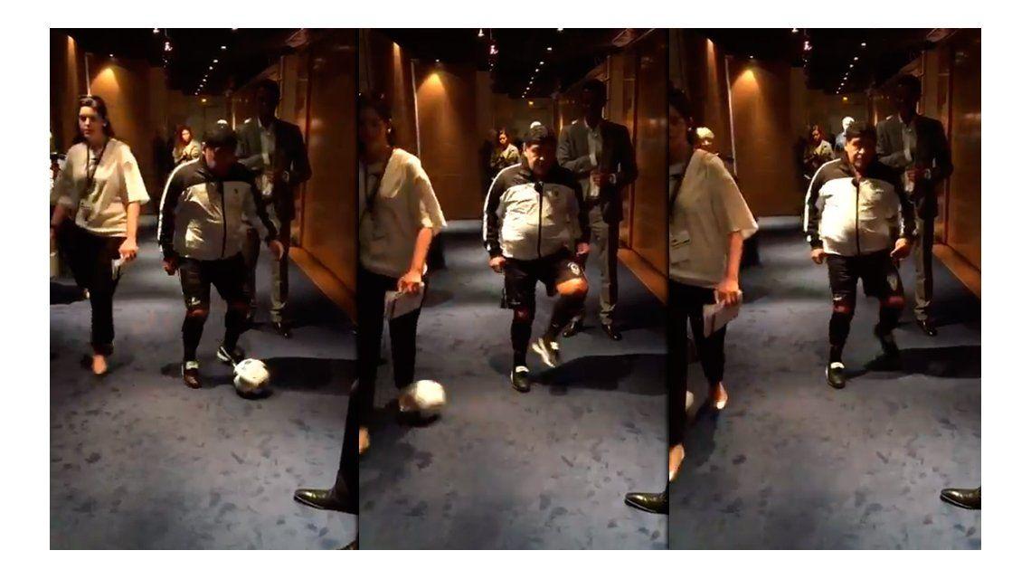 Gianinna publicó un video con un espectacular caño de Maradona: Es un nene; lo amo