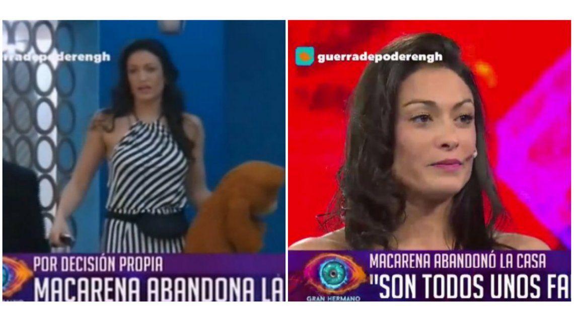 Macarena Pérez abandonó la casa en plena gala: Igual no me despidan, son todos unos falsos