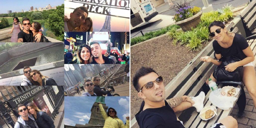 Cinthia Fernández y Matías Defederico, en Nueva York: mensajes a la distancia para sus hijas y románticas salidas