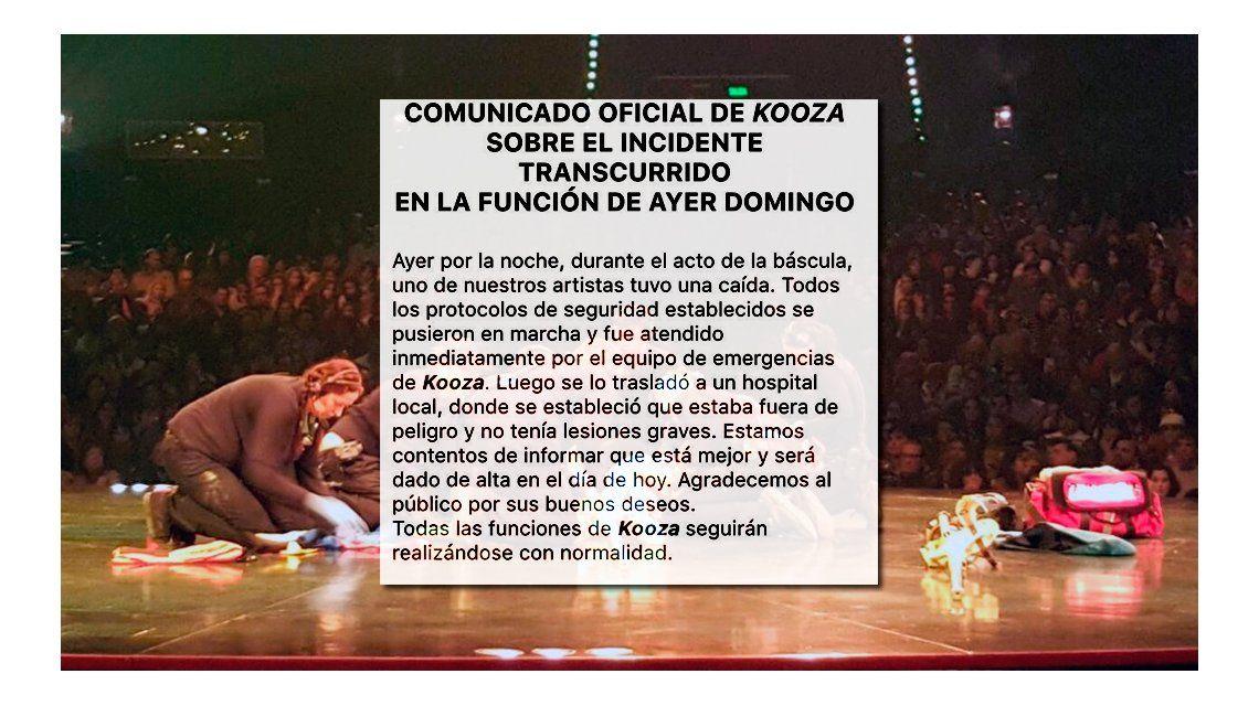 El comunicado de Cirque du Soleil: la salud del acróbata y cómo siguen las funciones