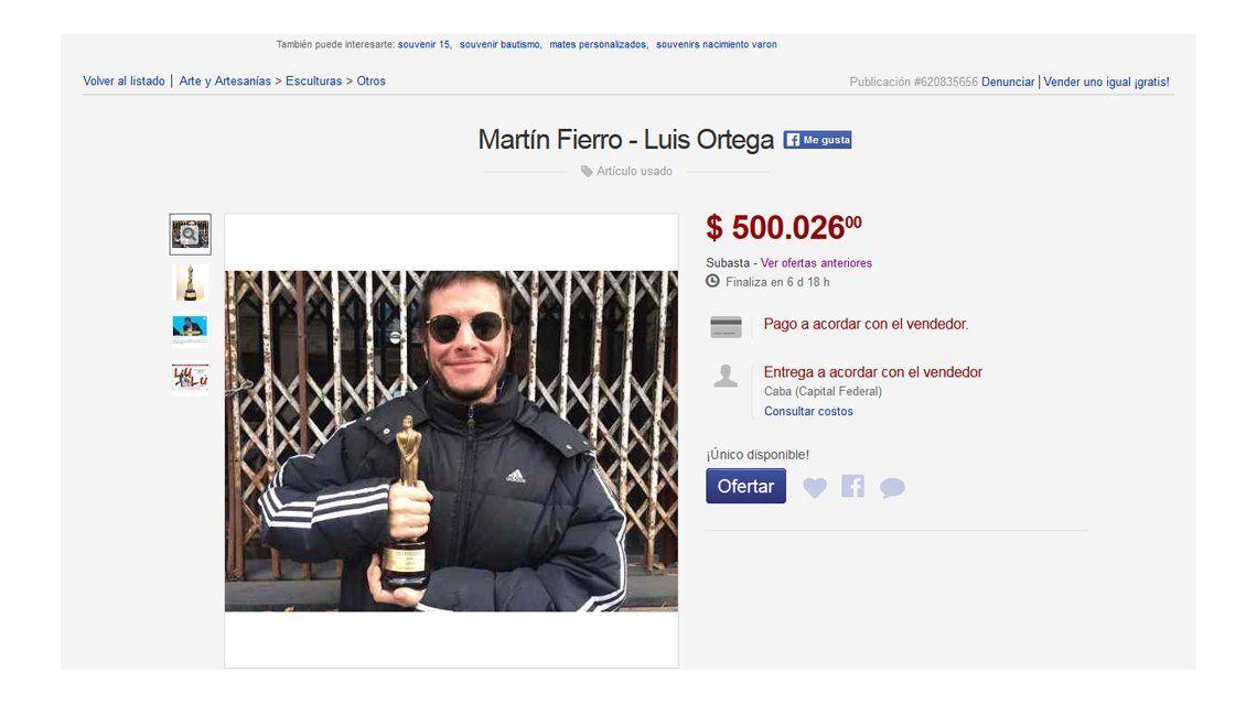 Luis Ortega subastó el Martín Fierro que ganó como director de Historia de un Clan