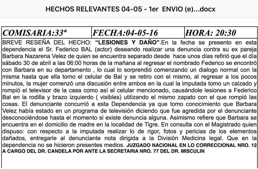 Esta es la denuncia de Federico Bal a Barbie Vélez: Rompió el televisor causándole lesiones en la pierna