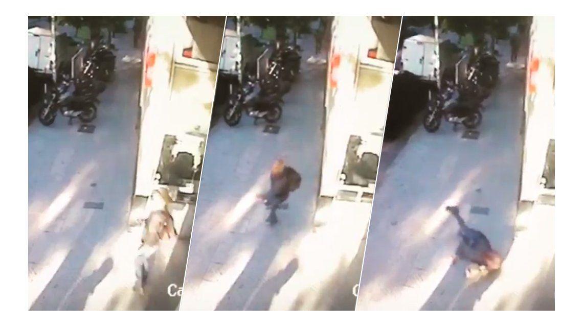 Se lo tomó con humor: mirá la terrible caída de Mariela Fernández en la puerta de C5N