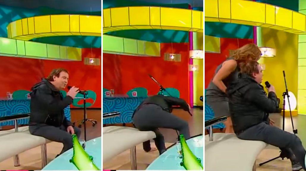 El blooper de Dyango en televisión: mientras cantaba, se cayó y casi se mata al aire