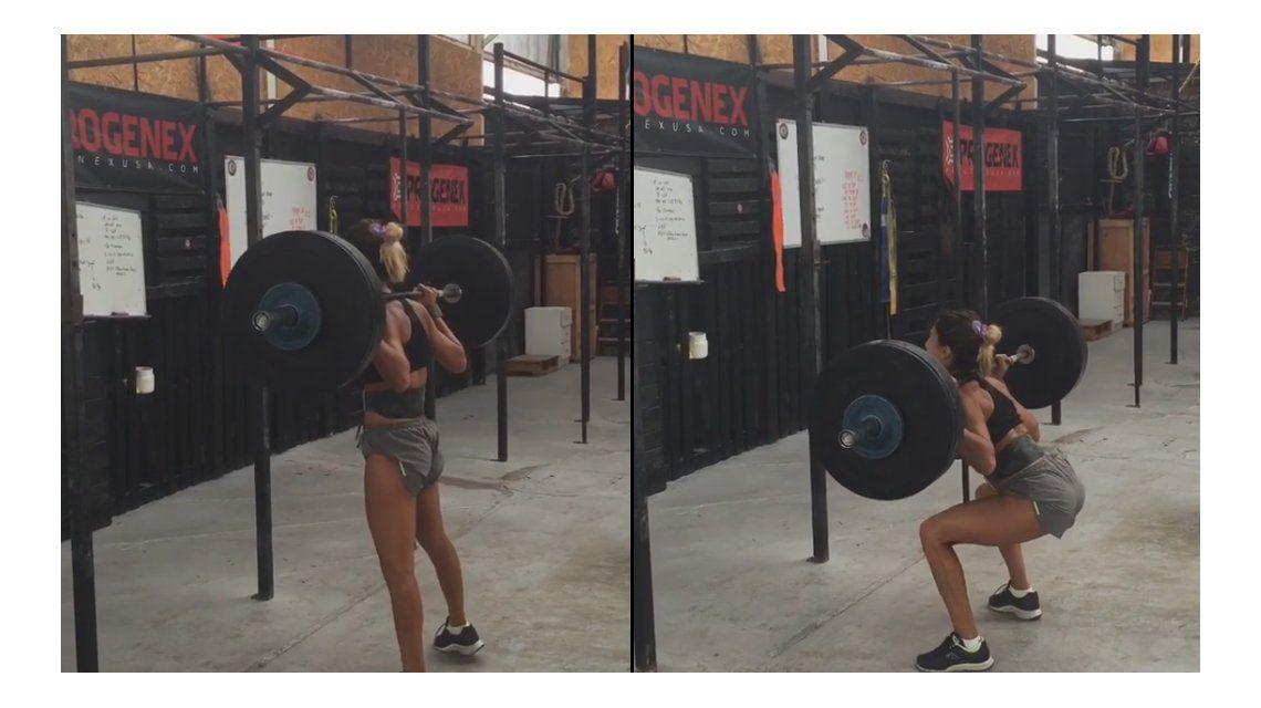Más desafiante que nunca, Cinthia Fernández levantó una pesa de casi 80 kilos