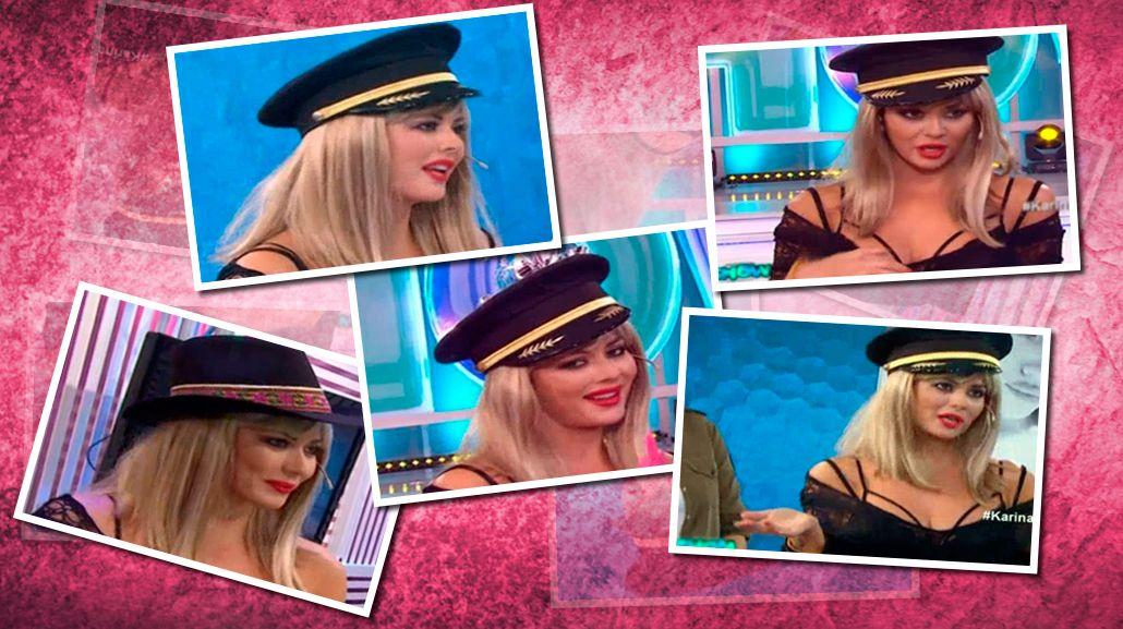 El show de Karina Jelinek en televisión: gorro de policía, peluca rubia y frases desopilantes