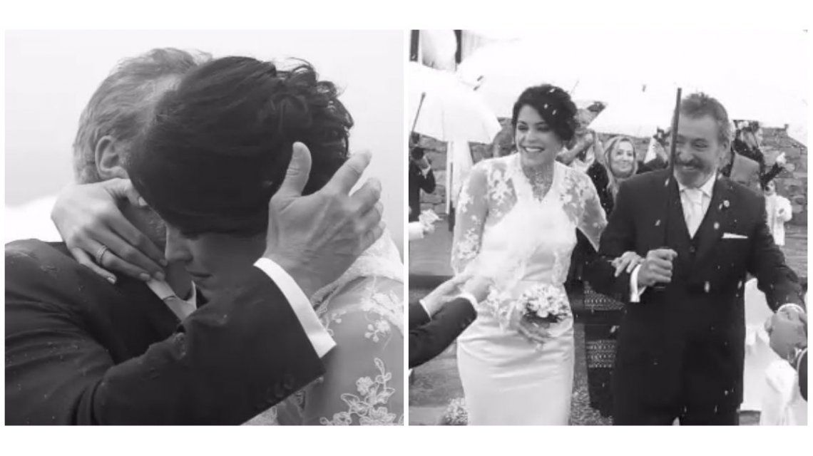 El video del casamiento de Pamela David y Daniel Vila: globos blancos, lluvia y música en vivo