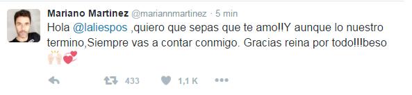 ¿Se volvió loco? El tuit de Mariano Martínez a Lali Espósito: ¡Quiero que sepas que te amo!
