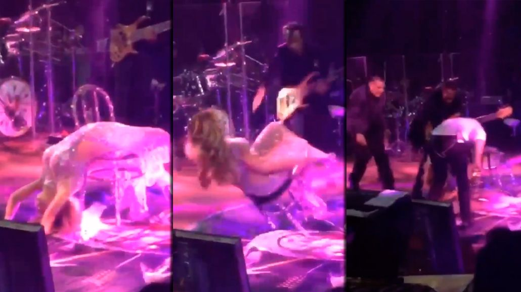 La terrible caída de Gloria Trevi en medio de un recital: mirá el video