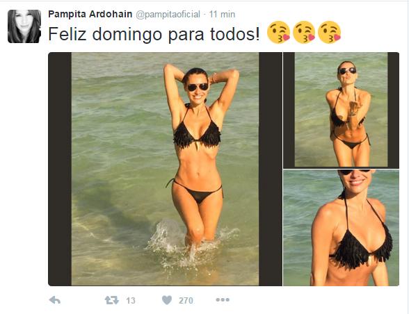 Pampita le hace frente al clima otoñal con fotos ¡muy sensuales! y mensaje para sus seguidores en Twitter