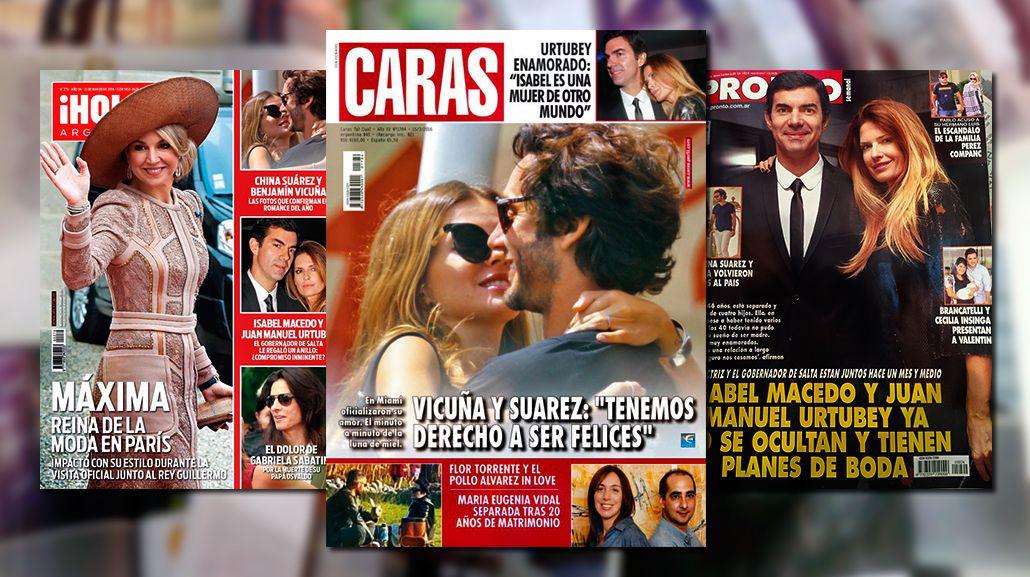Tapas de revistas: China Suárez-Benjamín Vicuña e Isabel Macedo-Juan Manuel Urtubey
