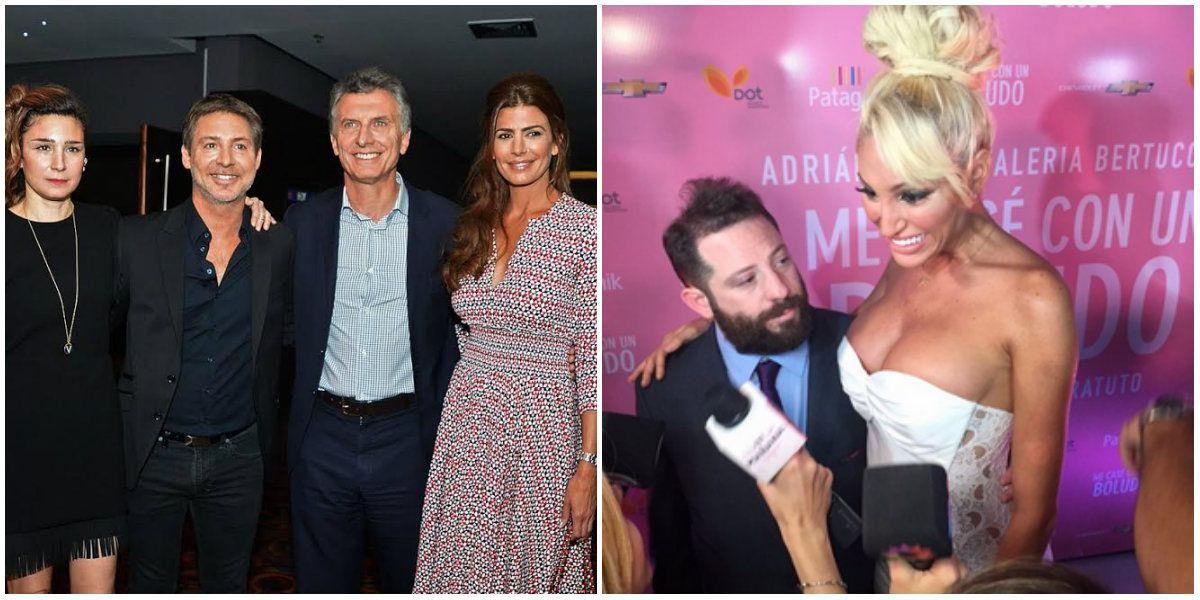 Todos revueltos: El Presidente Mauricio Macri, Juliana Awada, Vicky Xioplitakis y José Ottavis en la avant premiere de Me casé con un boludo