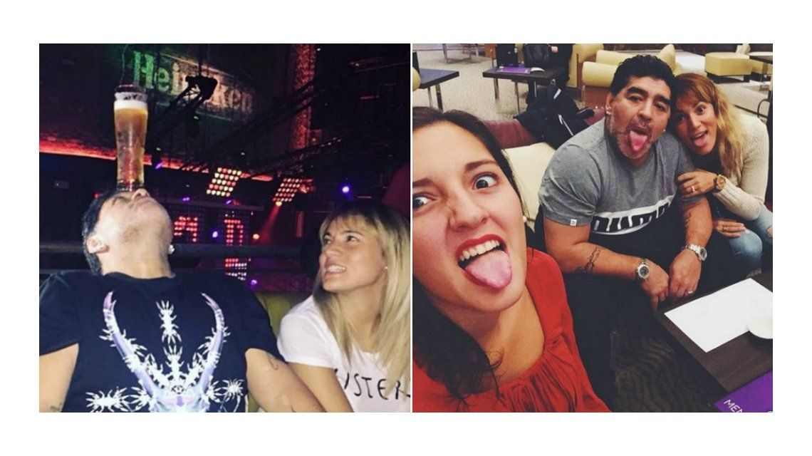 Jana Maradona viajó a Dubai a visitar a Diego y Rocío Oliva: noches de descontrol en un bar