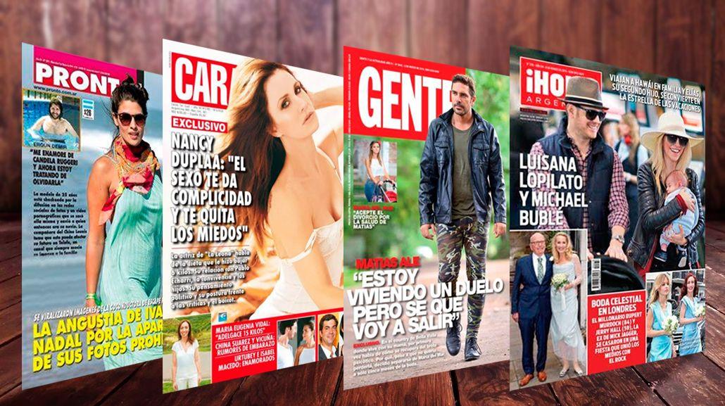 Tapas de revistas: Nancy Dupláa se abre al sexo, y Matías Alé hace su duelo