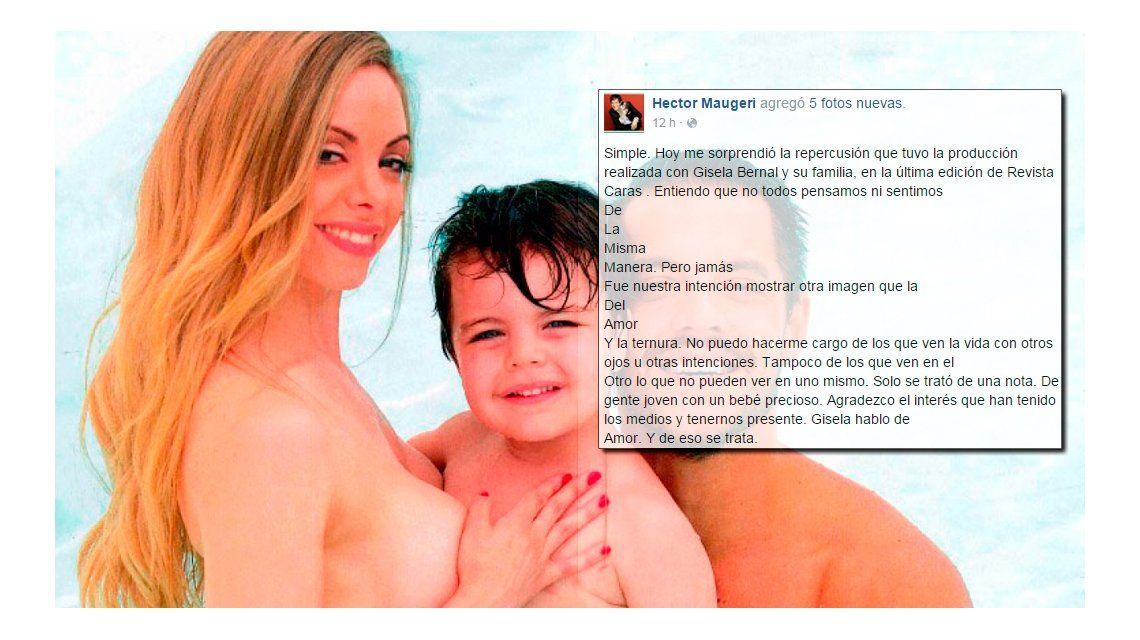 La defensa de la revista Caras de la producción de Gisela Bernal, desnuda con su hijo