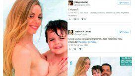 Destrozan a Bernal por su foto en topless con su hijo: los lapidarios tuits de Vernaci