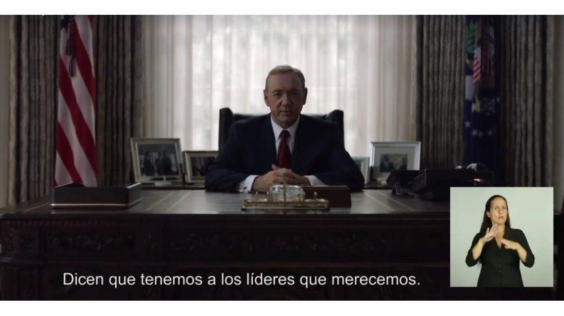El guiño de House of Cards tras el discurso de Mauricio Macri ¡con intérprete incluida!
