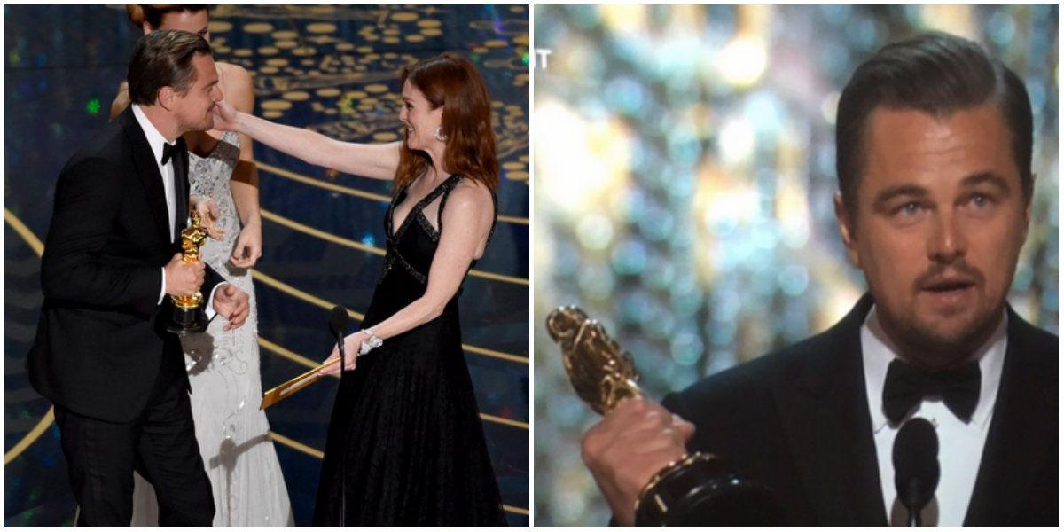 ¡Al fin! Por su actuación en The revenant, Leonardo DiCaprio ganó su primer Oscar como Mejor Actor