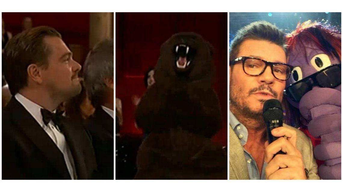 La tibia reacción de Leonardo DiCaprio por la broma del oso de El Renacido ¡y los tuits de Tinelli!