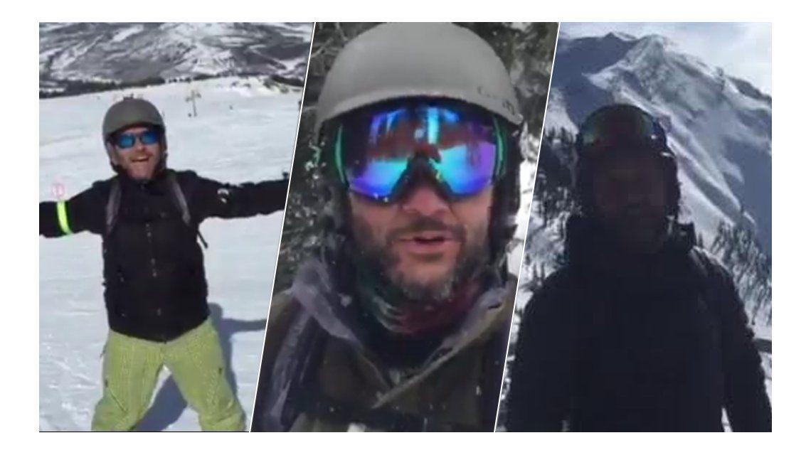 Mirá las aventuras de Diego Torres haciendo snowboard