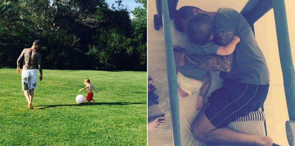 Marcelo y Lolo Tinelli, inseparables en Punta: tardes de fútbol ¡y colecho en la cuna!
