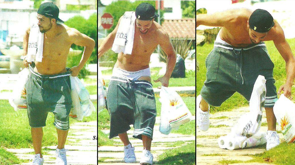 El blooper hot de Facu Mazzei: caminaba por Villa Carlos Paz, se le bajaron los pantalones ¡y quedó en calzoncillos!