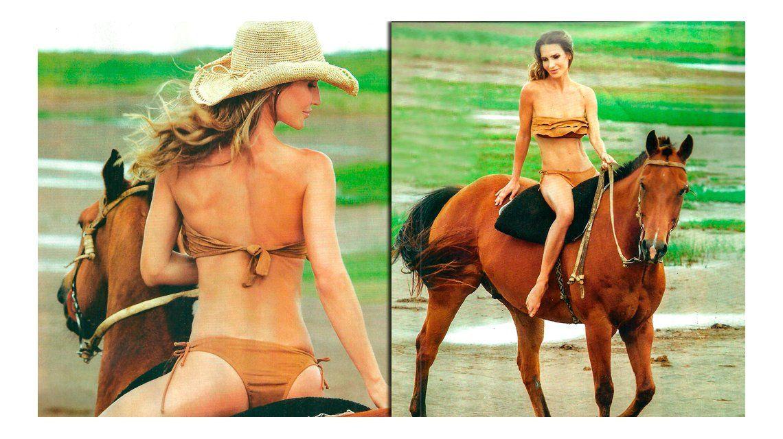Muy sensual y en bikini, María Vázquez pasea en los caballos de Adolfo Cambiaso