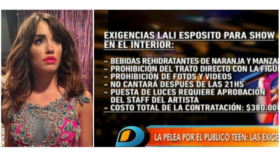 Sugerente mensaje de Lali Espósito mientras en Intrusos hablaban de las exigencias para sus shows