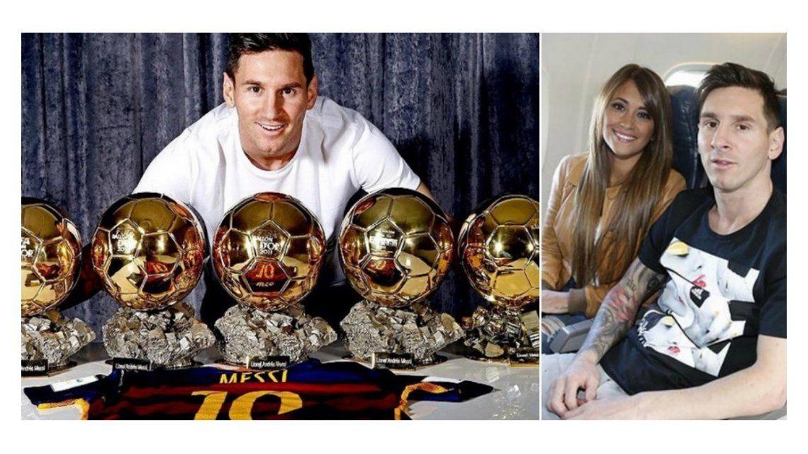 Después del beso en público, Antonella Roccuzzo saludó a Lionel Messi en las redes por su quinto balón de oro