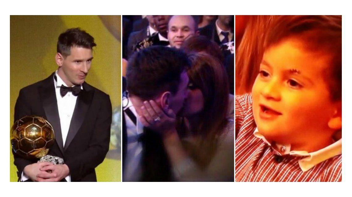 Lionel Messi ganó su quinto Balón de Oro: romántico festejo con Antonella Roccuzzo y efusivo saludo de Thiago