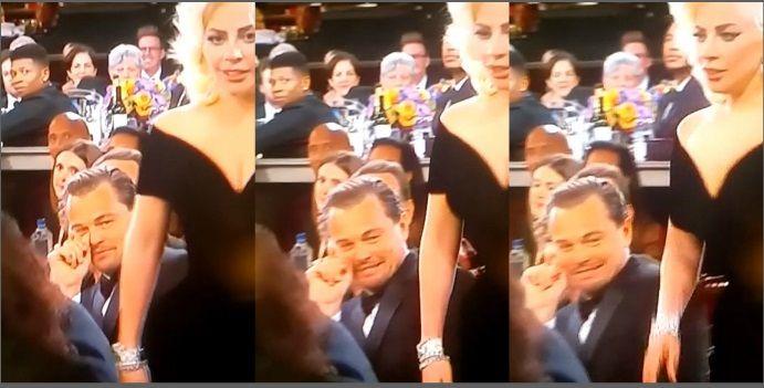 El papelón de los Globo de Oro 2016: el gesto de susto de Leonardo Dicaprio cuando pasó por al lado Lady Gaga