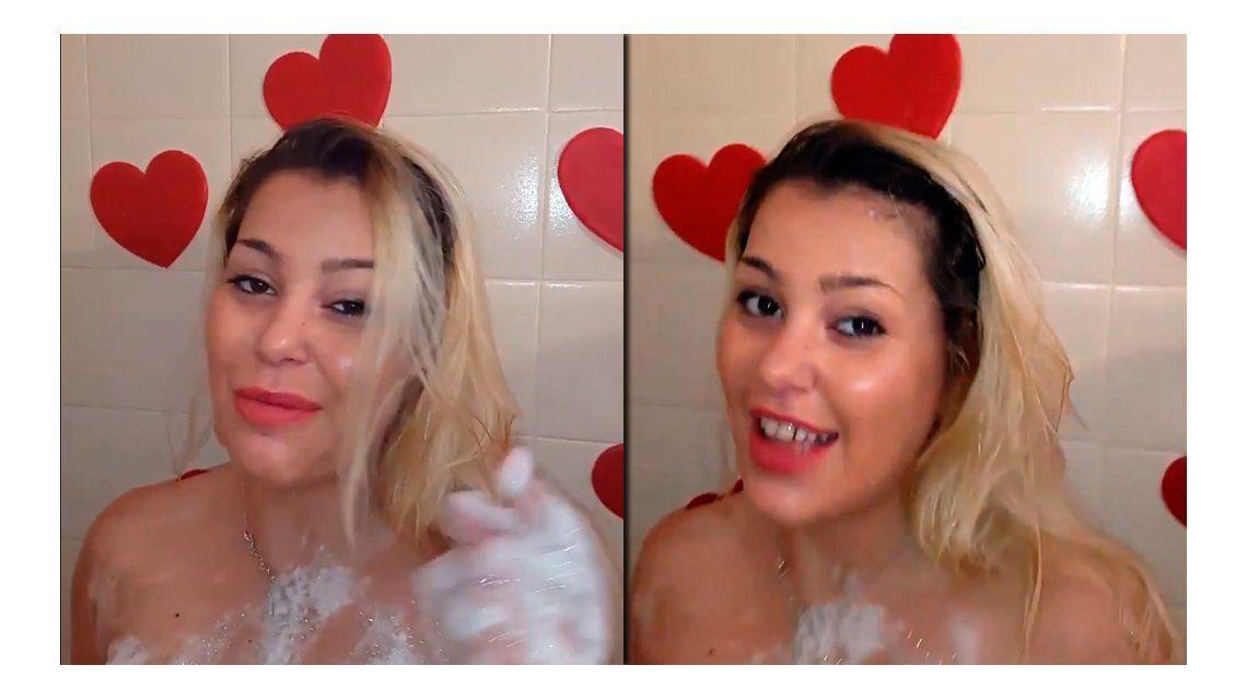 Mariana Diarco se mostró desnuda en la ducha