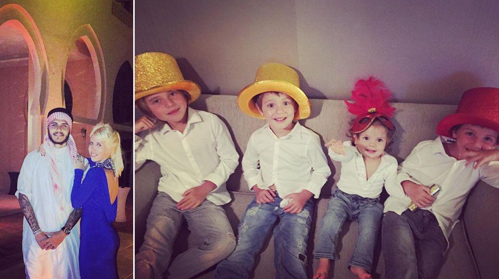 Mirá el look de Wanda Nara con sus hijos y Mauro Icardi en la lujosa fiesta de Fin de Año en Qatar