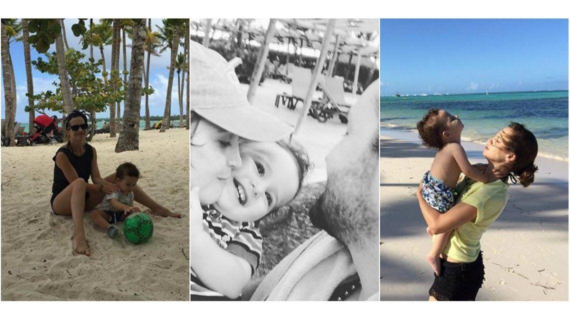 Las vacaciones familiares de Sabrina Garciarena y Germán Paoloski en paradisíacas playas