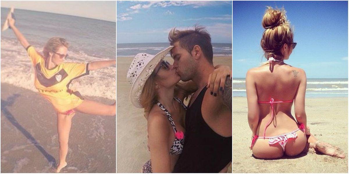 Boti enamorada: las vacaciones de Melina Pitra y Fabián Assmann, a puro fútbol