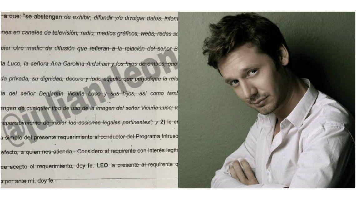 Benjamín Vicuña le puso un bozal legal a los medios tras el escándalo con Pampita