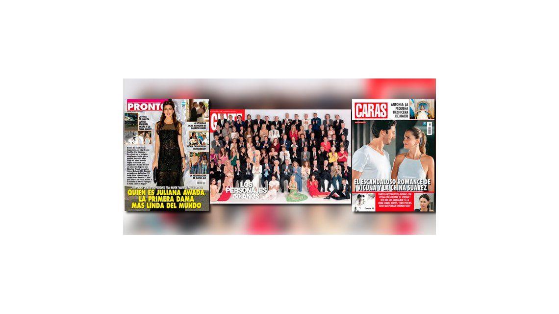 Las tapas de las revistas: doble edición de Gente con Marcelo Tinelli y el escándalo Pampita - China Suárez - Benjamín Vicuña