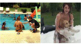 A pura espuma, Jésica Cirio le hizo frente al calor en una divertida pool party