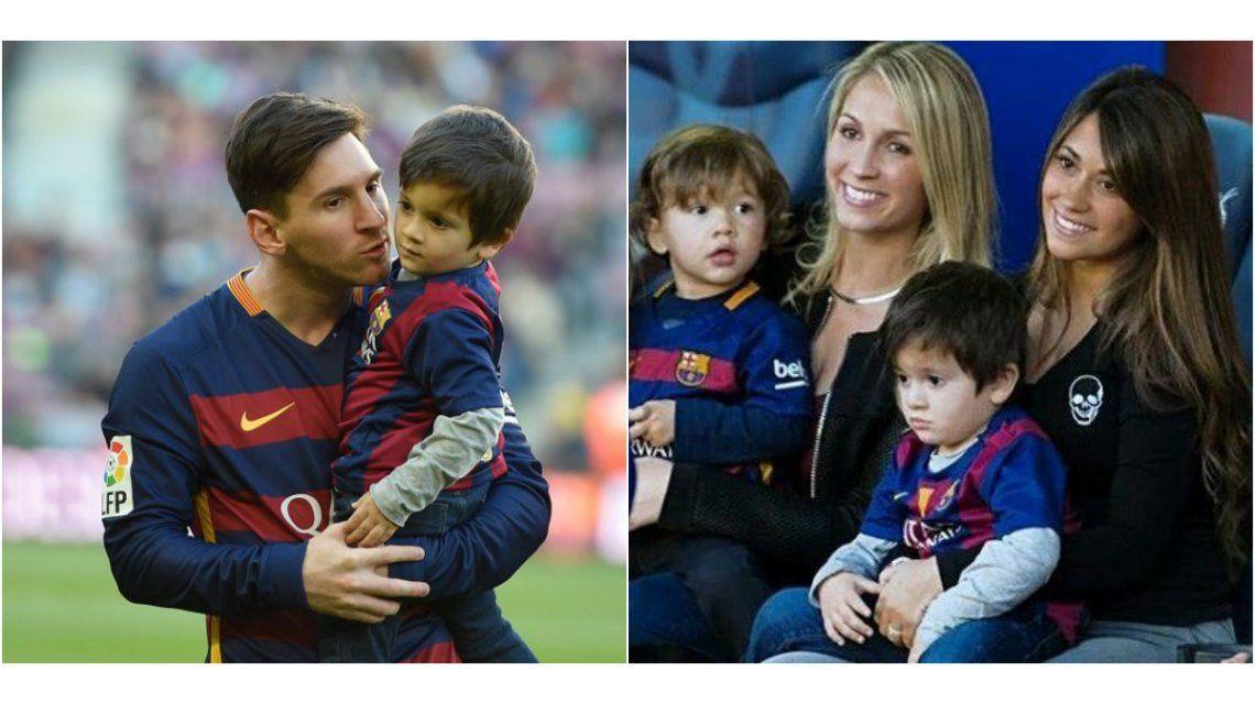 El festejo de Antonella Roccuzzo y Thiago tras el gol de Lionel Messi en su partido número 600