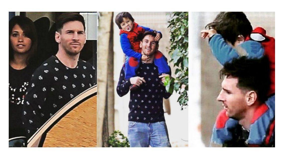 Un papá genial: así pasea Lionel Messi a Thiago por las calles de Barcelona con Antonella Roccuzzo