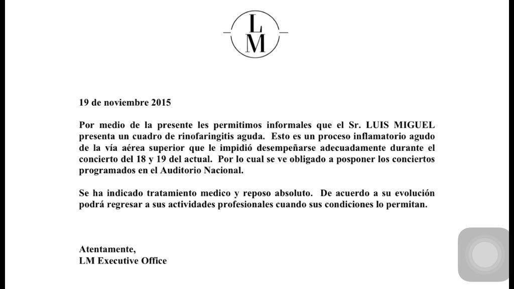 A siete días de presentarse en Argentina, Luis Miguel, con reposo absoluto: ¿Qué le pasa?