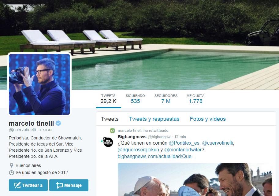 Otro récord: Marcelo Tinelli llegó a los 7 millones de seguidores en Twitter