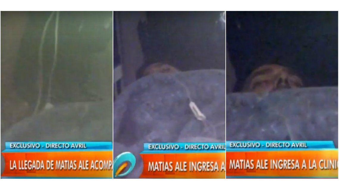 Las primeras imágenes de Matías Alé ingresando a la clínica psiquiátrica: sedado y con Maria del Mar