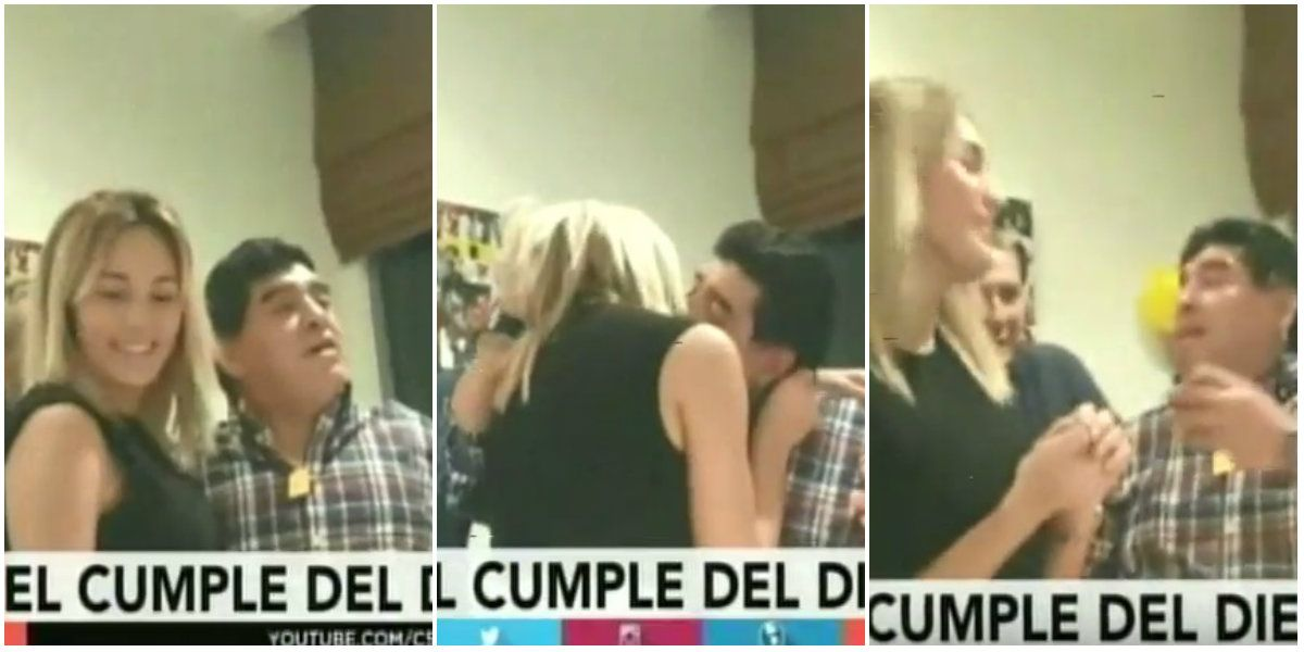 El apasionado beso que Rocío Oliva le interrumpió a Diego Maradona: Arriba no te quejás de nada, reprochó él